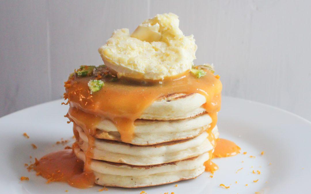 "Rhubarb and Vanilla Curd ""Proper Pancakes"""