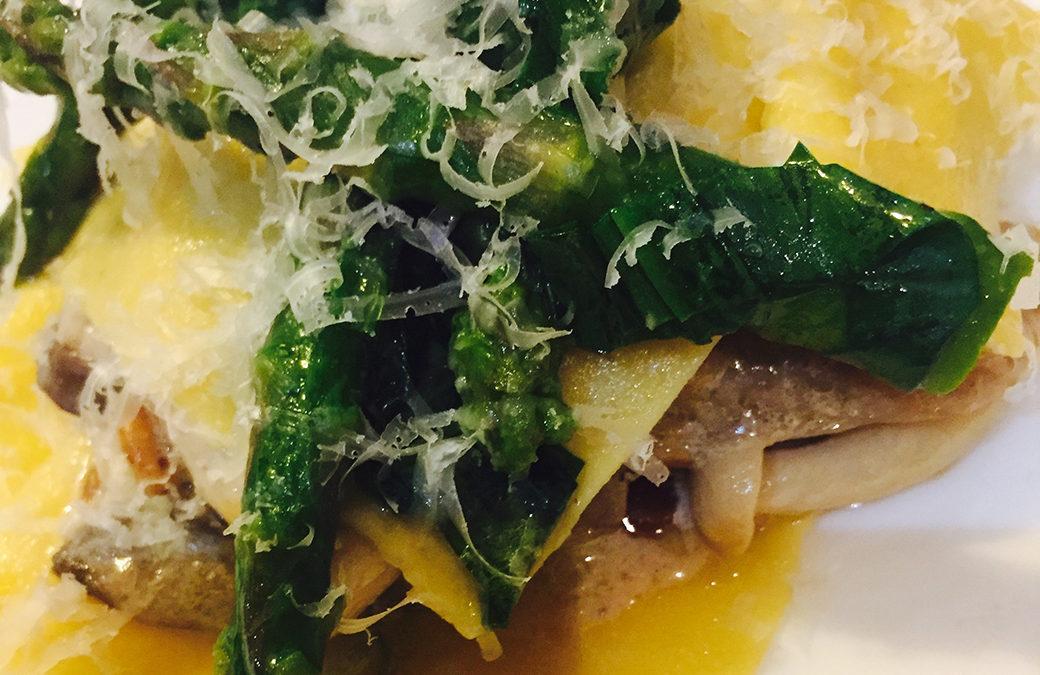 Open Ravioli with Asparagus, Wild Mushrooms and Wild Garlic