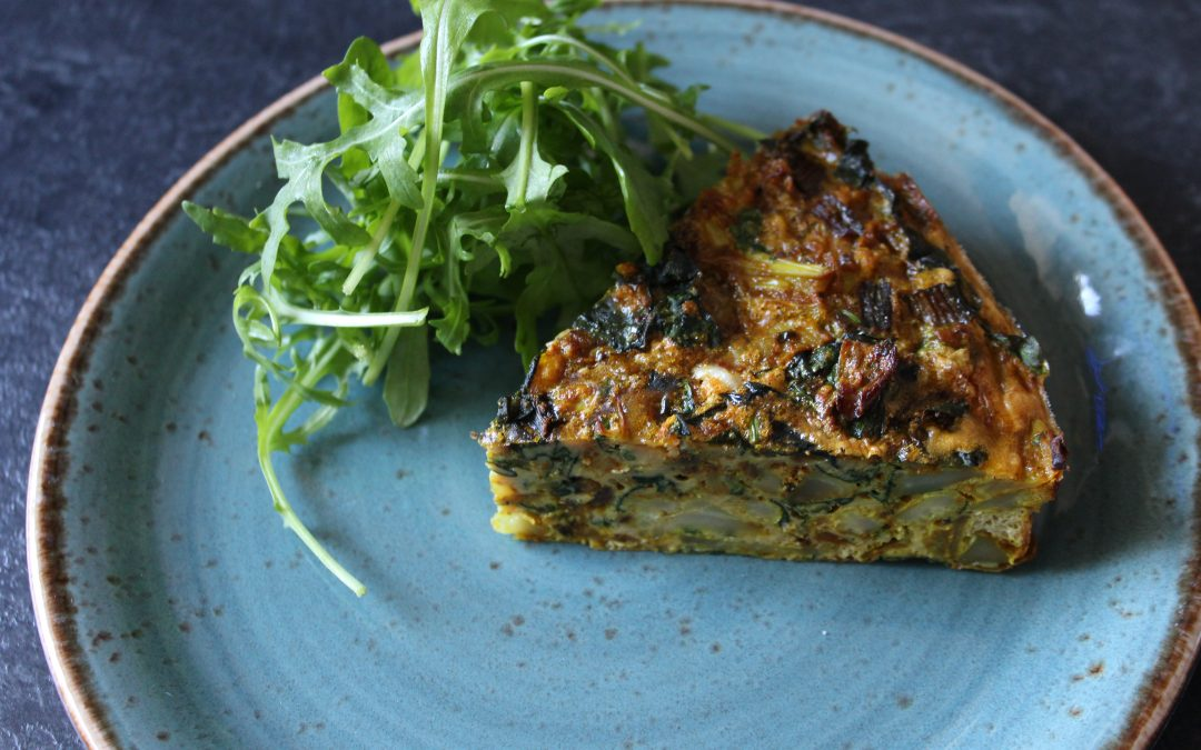 """Free From"" Curried Cauliflower & Rainbow Chard Frittata with Boost the Roost Eggs"