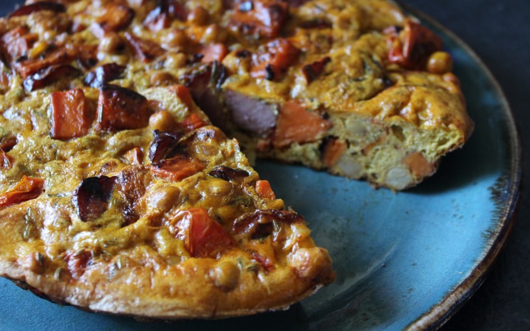 Sweet Potato and Chickpea Frittata with Hunters Sausage