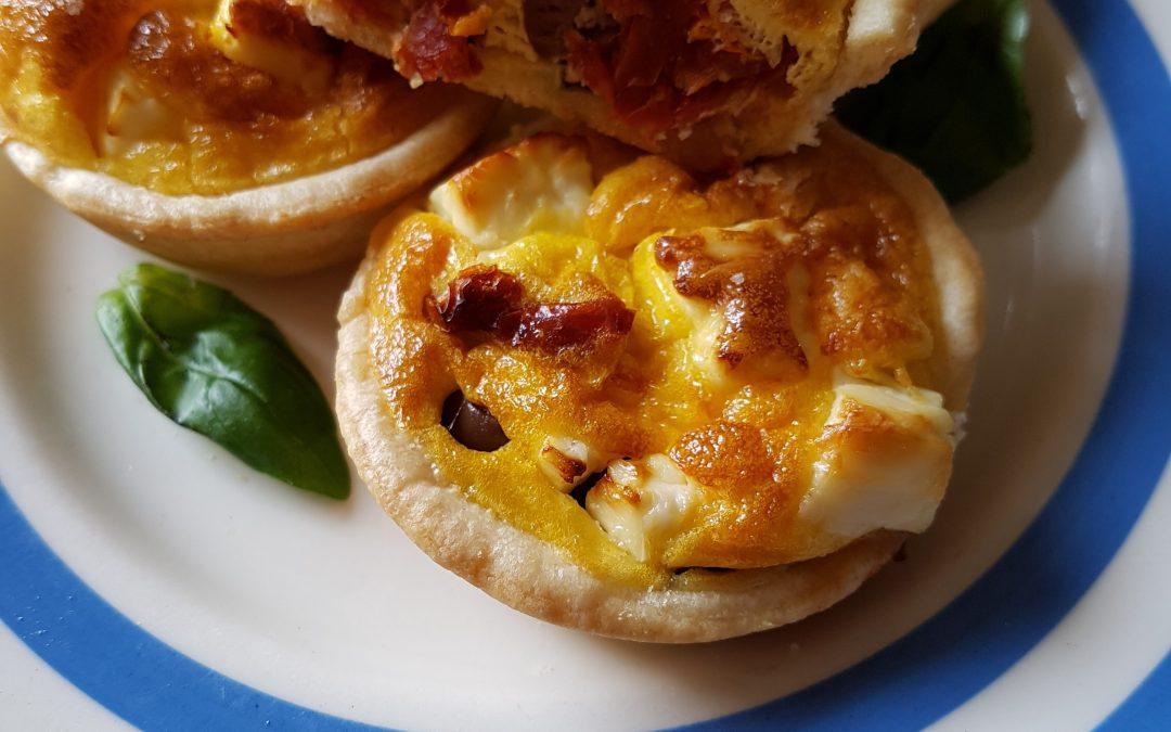 Olive, Feta, Sun Blush Tomato and Basil Tartlets