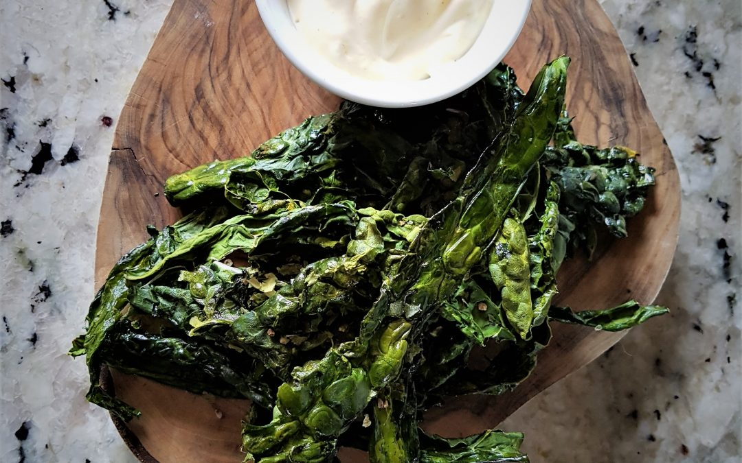 Seaweed Dusted Kale Crisps with Roasted Garlic Aioli