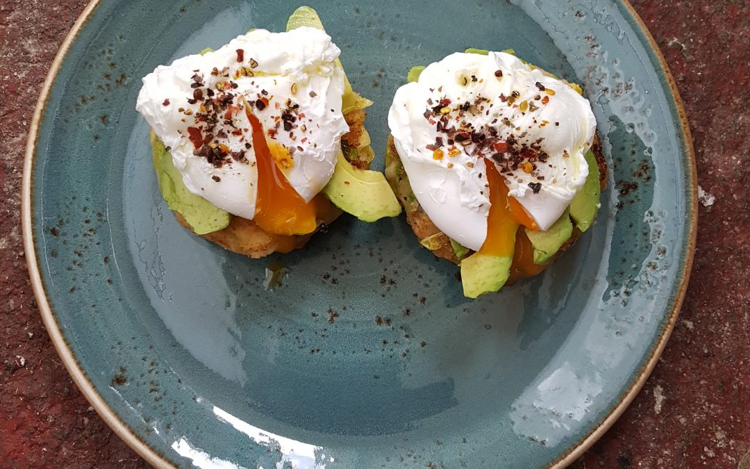 Kimchi Potato Cakes with Poached Eggs & Avocado