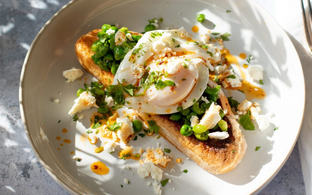 Crushed Peas on Toast with Poached Eggs, Chipotle Oil & Feta