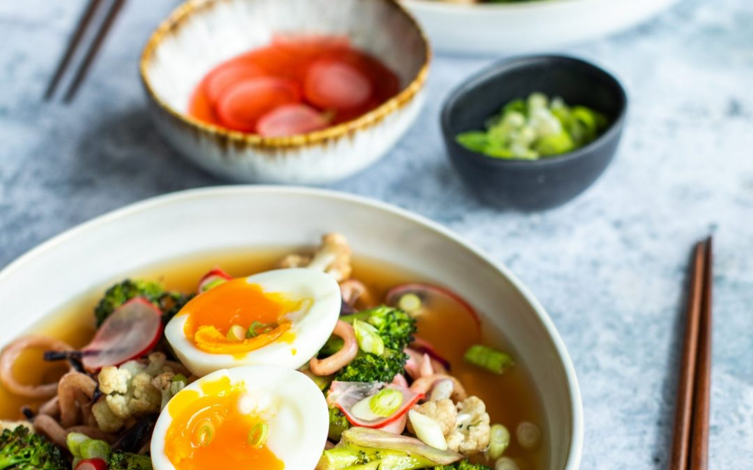 Udon Miso Ramen with a Soft Boiled St Ewe Egg
