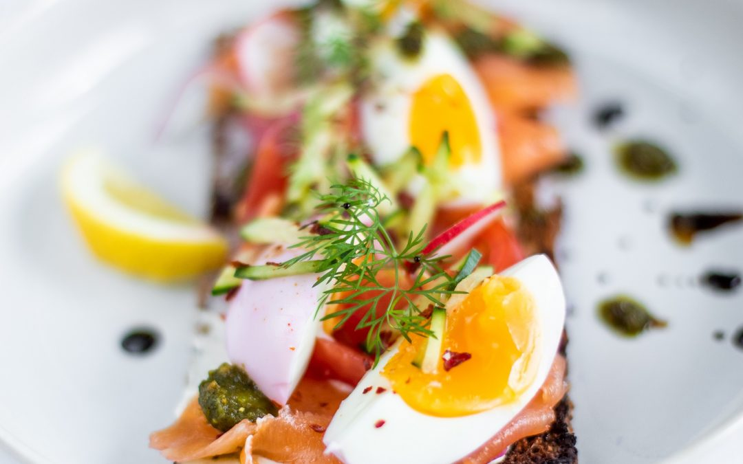 Toasted Rye with Salmon, Pickled Eggs & Veggies.